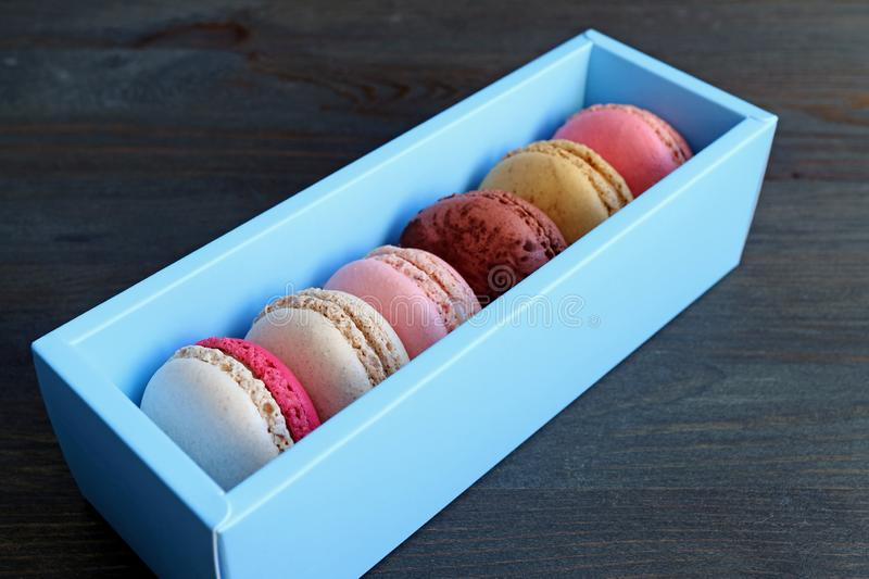 Box of Macarons in a variety of beautiful pastel colors stock photos