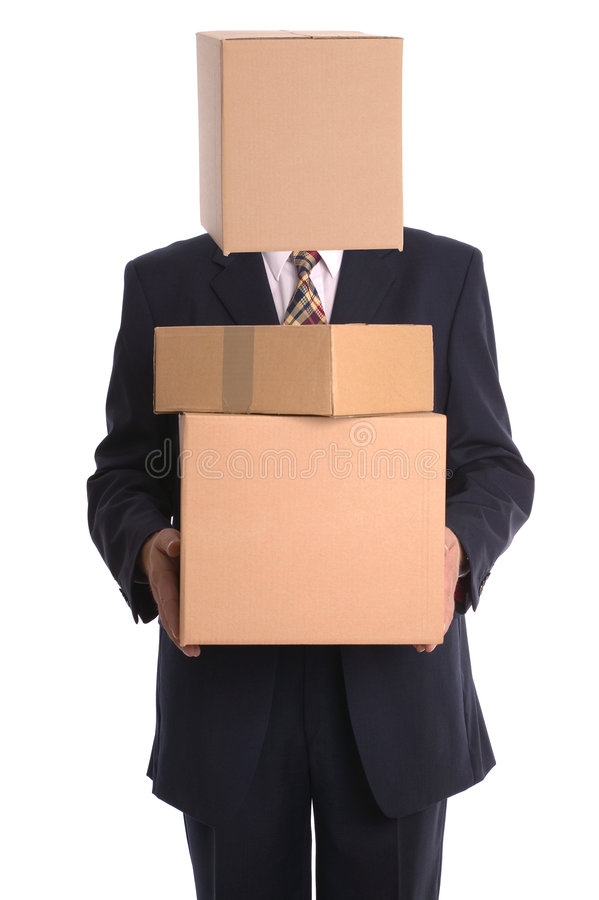 Box Man - Delivery. Businessman with a box on his head making a delivery royalty free stock photo