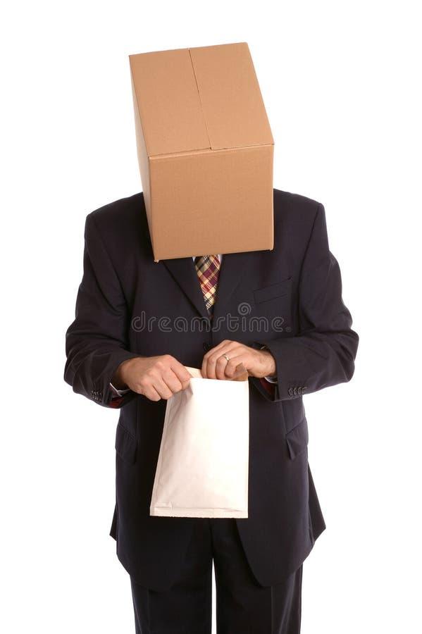 Box Man Opening Envelope Stock Photos
