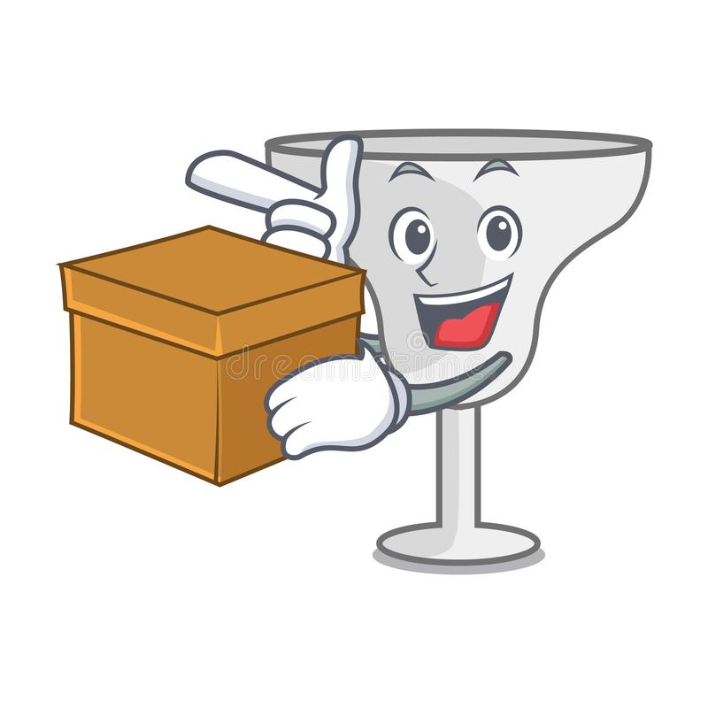 With box margarita glass character cartoon. Vector illustration stock illustration