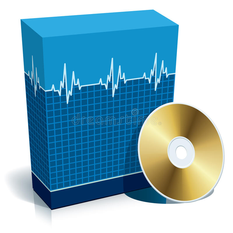 Box with medical software. Blue blank 3d box with medical software and CD