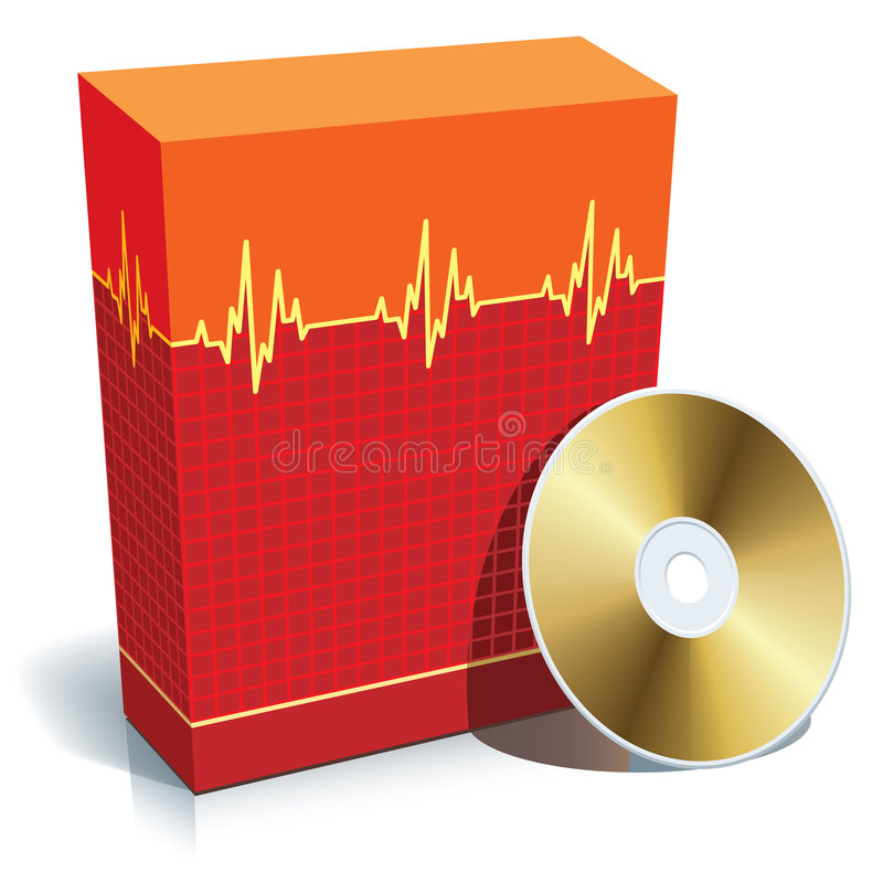 Box with medical software vector illustration
