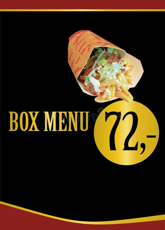 Box menu. Fast food advertisements. Menu plaques. Menu design. Box menu with turkish doner meet or kebab, french fries, salad and dressing. Fast food royalty free illustration