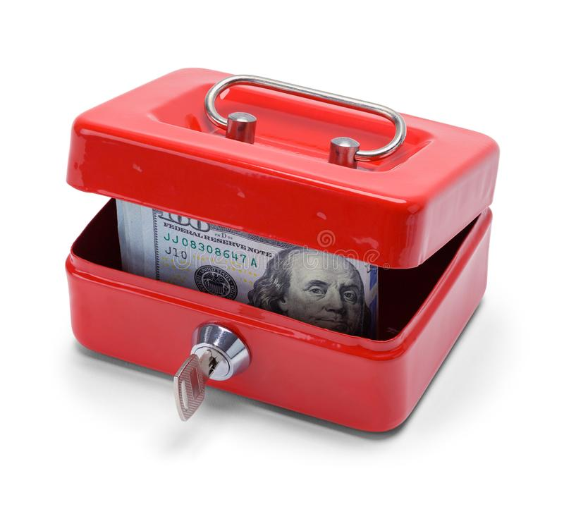 Box with Money Inside. Red Change Box with Money Inside Isolated on a White Background royalty free stock photos