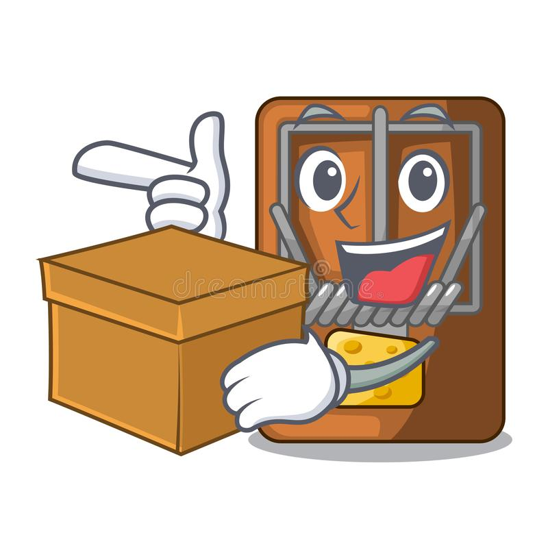 With box mousetrap in the shape mascot wood. Vector illustration royalty free illustration