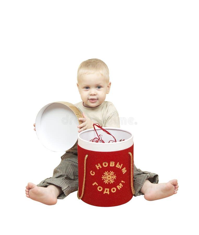 box ny öppning s för barngåvan det små året royaltyfri fotografi