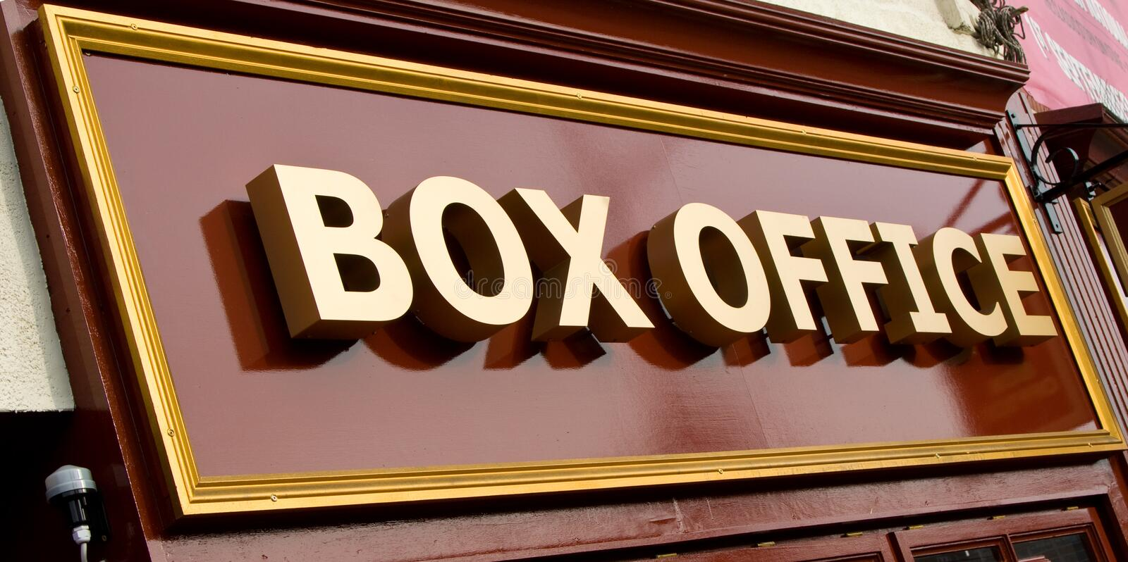 Box Office. A sign indicating a box office stock image