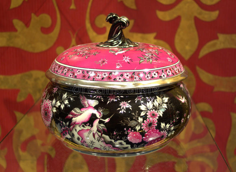 Box with opulent oriental decoration. Meissen porcelainm,Germany stock images