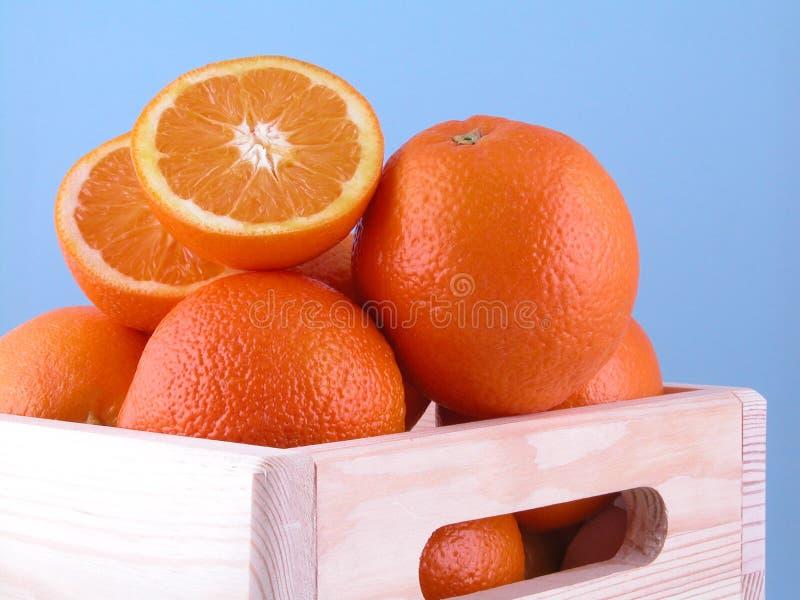 Box of oranges stock image