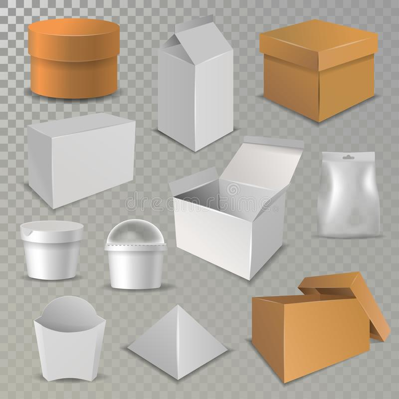 Box package vector cardboard packaging stack of carton packed boxes for delivery and pile of open and close paper. Plastic boxed and glass parcels illustration royalty free illustration