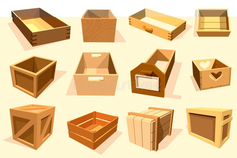 Box package vector wooden empty drawers and packed boxes or packaging crates with wood crated containers for delivery or. Box package vector wooden empty drawers stock illustration