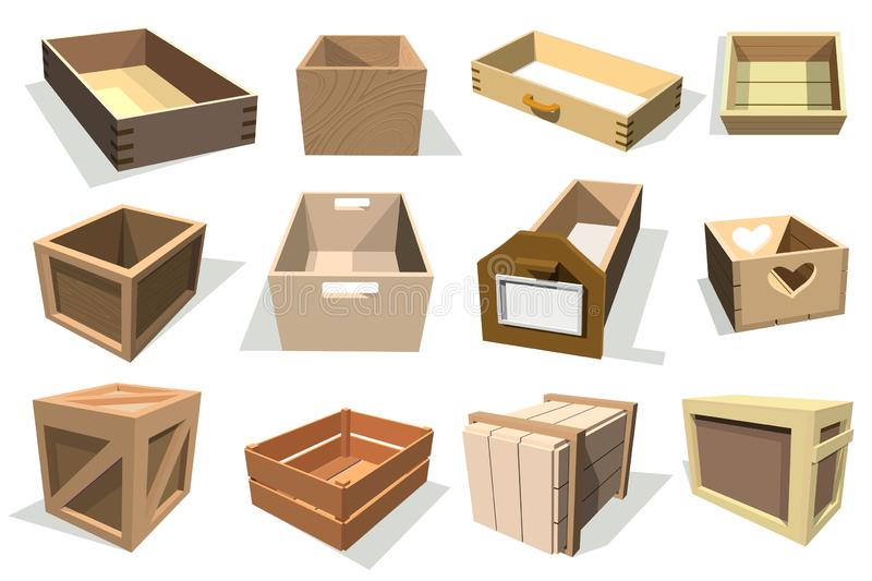 Box package wooden empty drawers and packed boxes or packaging crates with wood crated containers for delivery or. Box package wooden empty drawers and packed royalty free illustration
