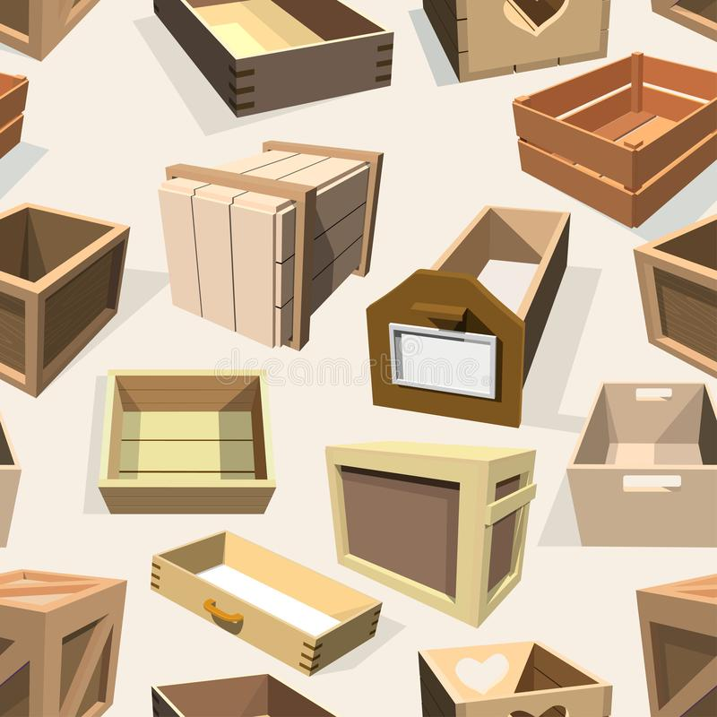 Box package wooden empty drawers and packed boxes or packaging crates with wood crated containers for delivery or. Shipping set illustration seamless pattern stock illustration