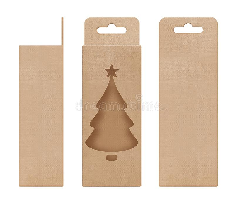Box, packaging, box brown for hanging cut out window Christmas tree shape open blank template for design product package. A box, packaging, box brown for hanging royalty free stock photo