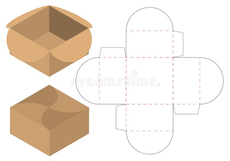 Box packaging die cut template design. 3d mock-up. A Box packaging die cut template design. 3d mock-up stock illustration