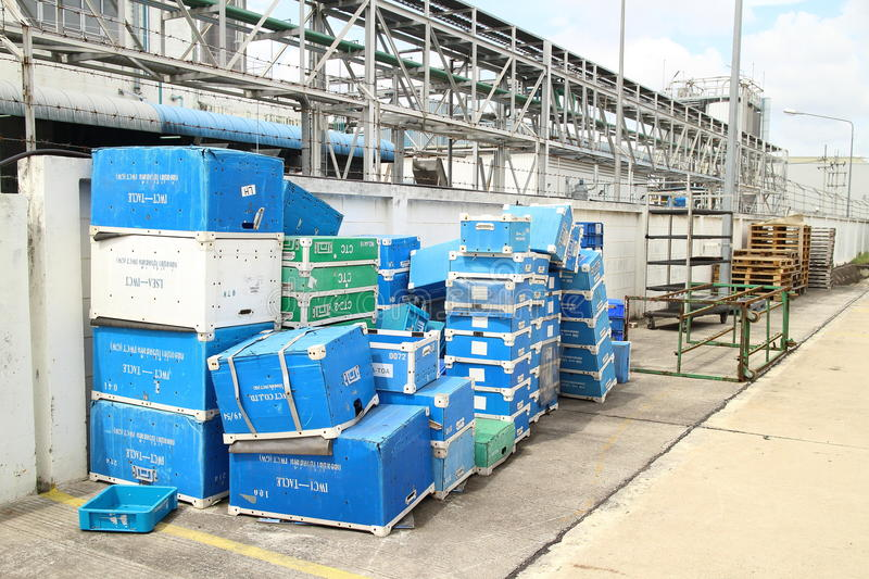Box and paper scrap in factory. Rayong Industrial, THAILAND - November 06 2015: Box and paper scrap in factory ,automotive parts industrial at Rayong industrial royalty free stock photo