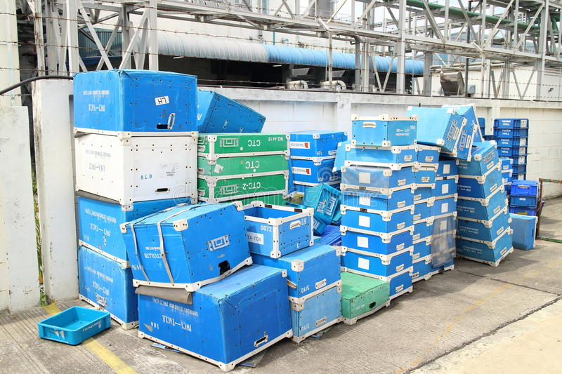 Box and paper scrap in factory. Rayong Industrial, THAILAND - November 06 2015: Box and paper scrap in factory ,automotive parts industrial at Rayong industrial stock images