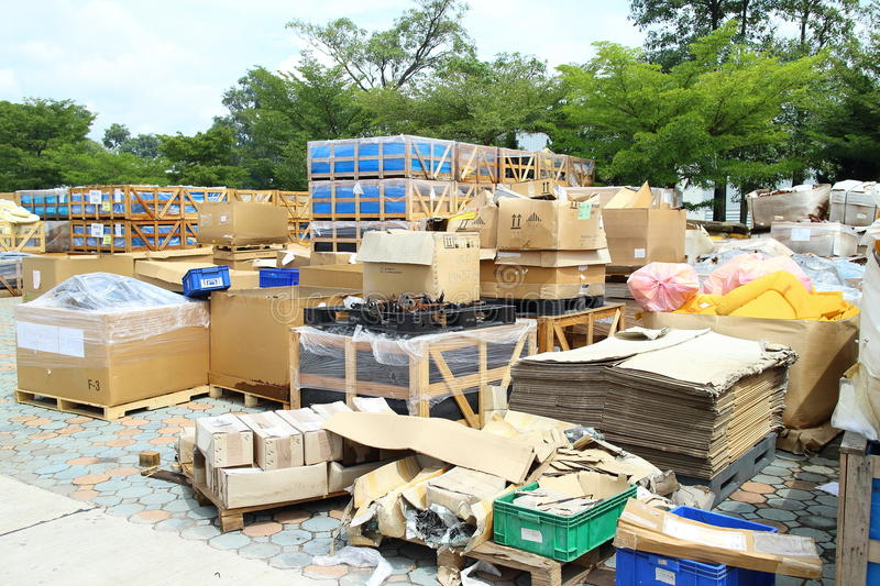 Box and paper scrap in factory. Rayong Industrial, THAILAND - November 06 2015: Box and paper scrap in factory ,automotive parts industrial at Rayong industrial stock photo