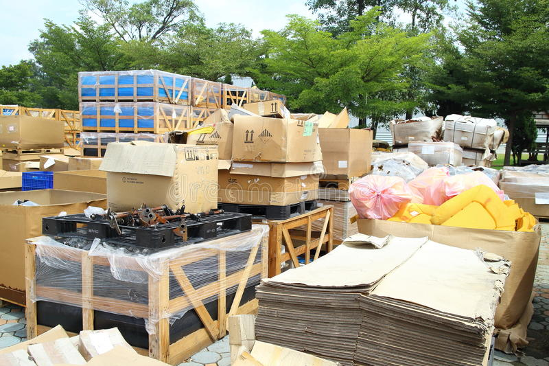 Box and paper scrap in factory. Rayong Industrial, THAILAND - November 06 2015: Box and paper scrap in factory ,automotive parts industrial at Rayong industrial stock photography