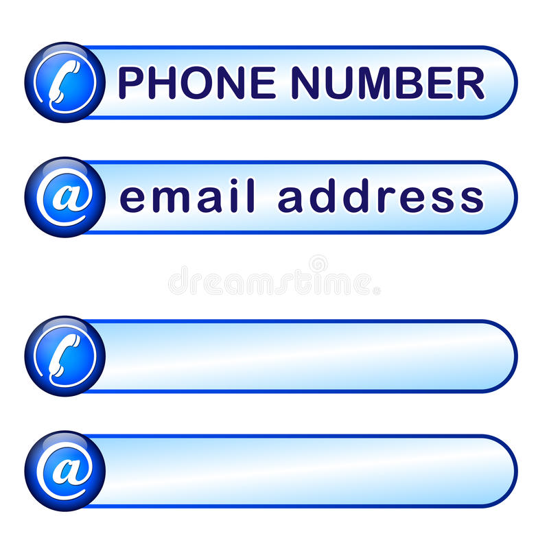 Box for phone and mail address. Box for phone and mail adress stock illustration
