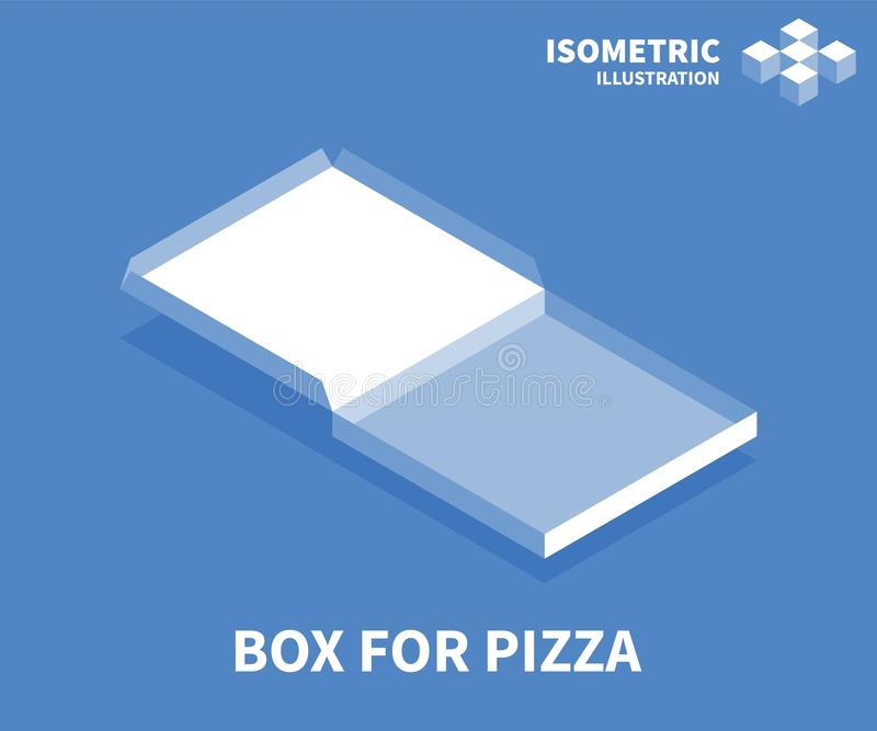 Box for pizza icon. Isometric template for web design in flat 3D style. Vector illustration royalty free illustration