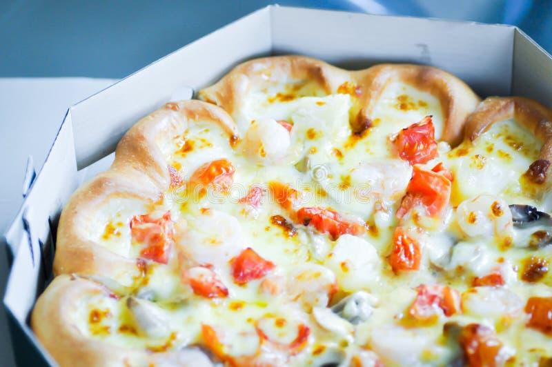 Box of pizza stock image