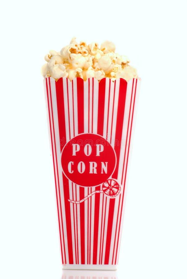 Box of popcorn. Red and white box of movie popcorn stock photo
