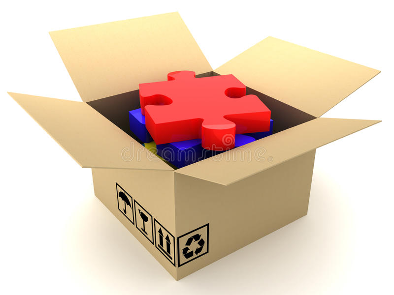 Download Box and puzzle stock illustration. Image of cardboard - 20604691