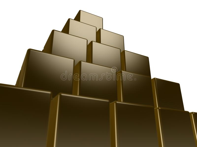 Box pyramid. Boxes or cubes arranged in a tall pyramid. Theme: Stability stock illustration
