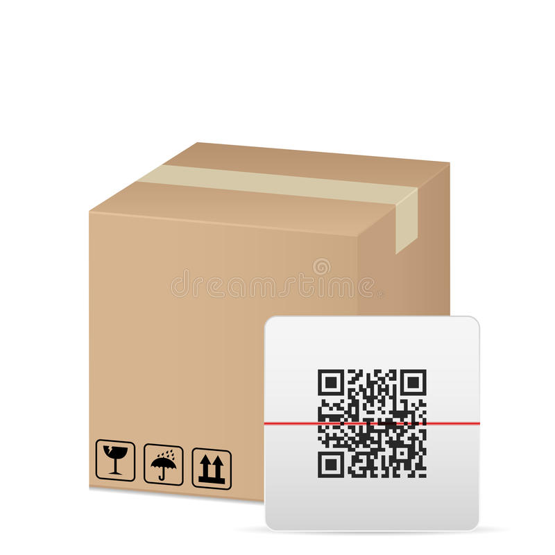 Box and QR code stock illustration