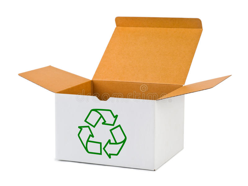 Box with recycling sign royalty free stock image