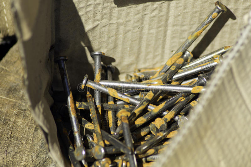 Download Box of Rusty Nails stock image. Image of homestead, nails - 90906923