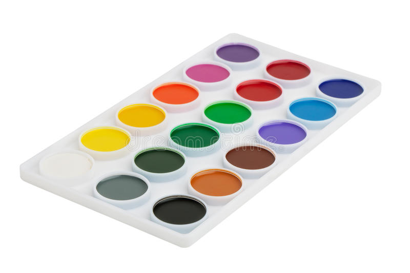 Box with a set of watercolor paints royalty free stock photo