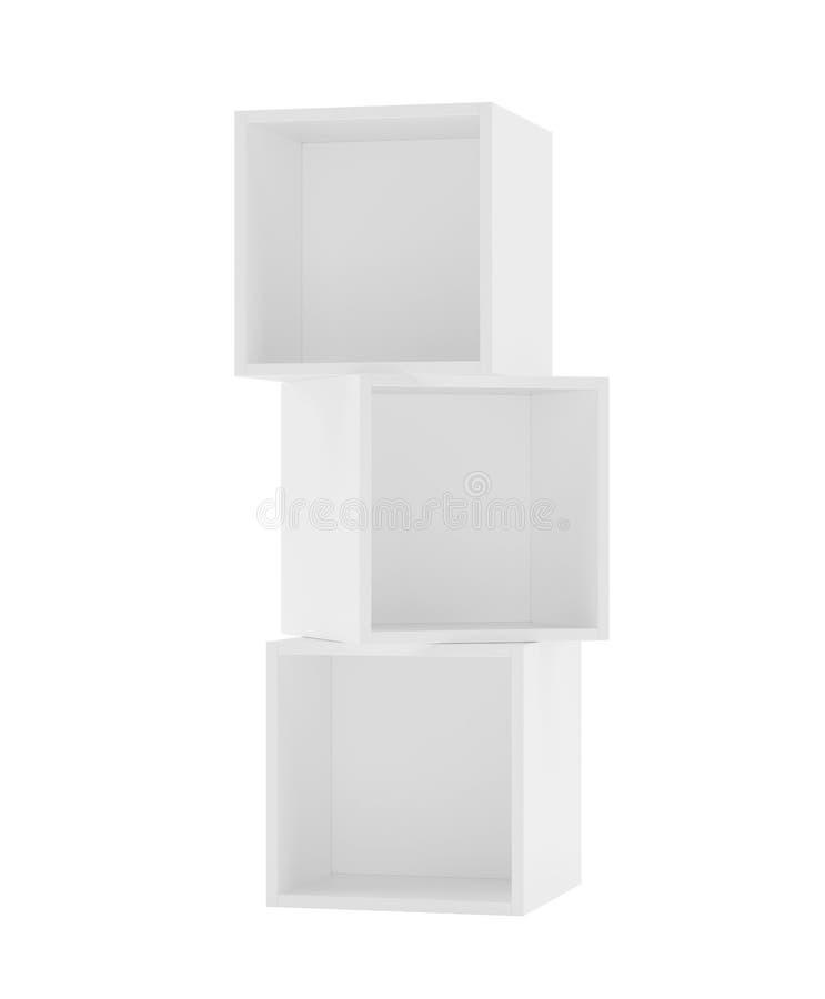 Box shelves white. 3d rendering on background. Box shelves white. 3d rendering on white background vector illustration