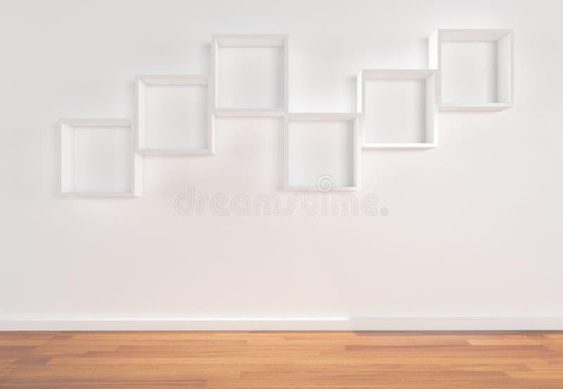 Download Box Shelves on white wall stock illustration. Illustration of market - 21855256