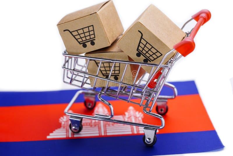 Box with shopping cart logo and Cambodia flag stock image