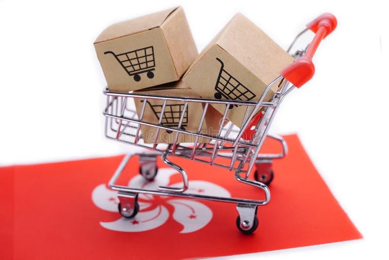 Box with shopping cart logo and Hong Kong flag stock photography