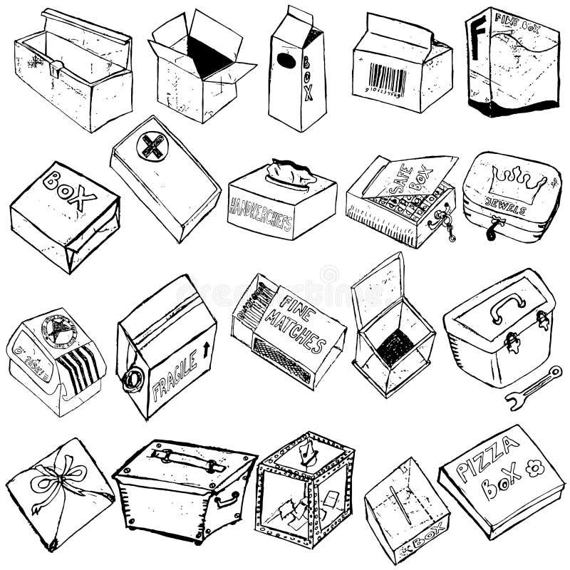 Box sketches stock illustration