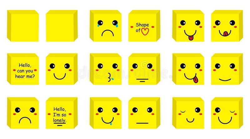 Box smiley set vector illustration