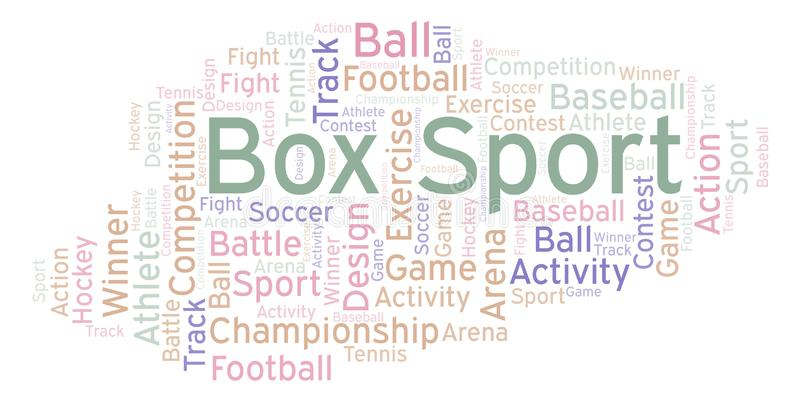 Box Sport word cloud. Made with text only stock illustration