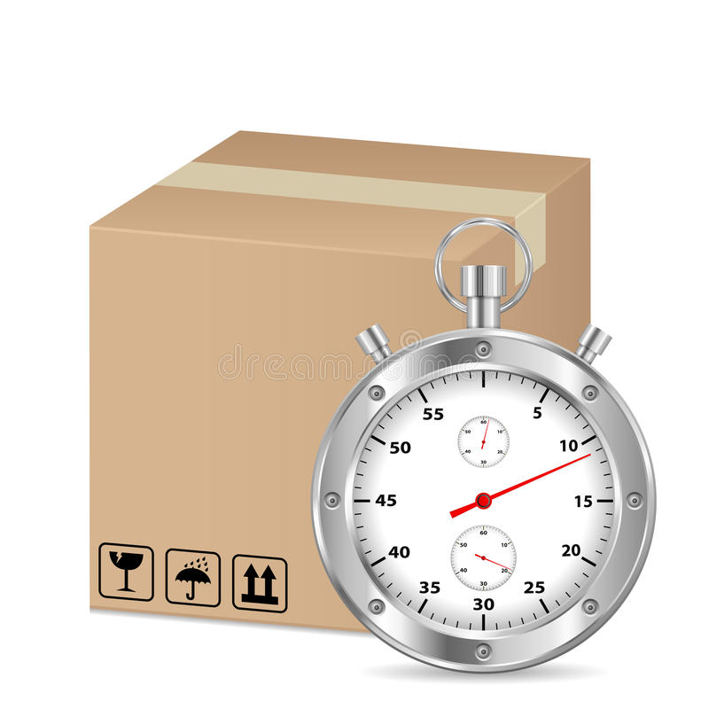 Box and stopwatch royalty free illustration