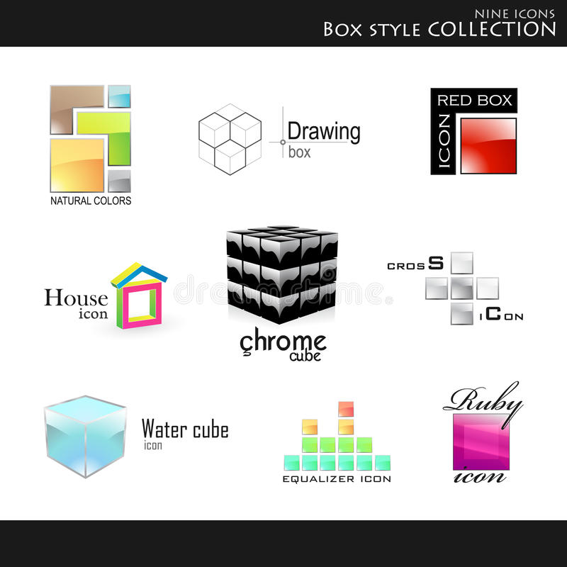 Box style collection royalty free illustration