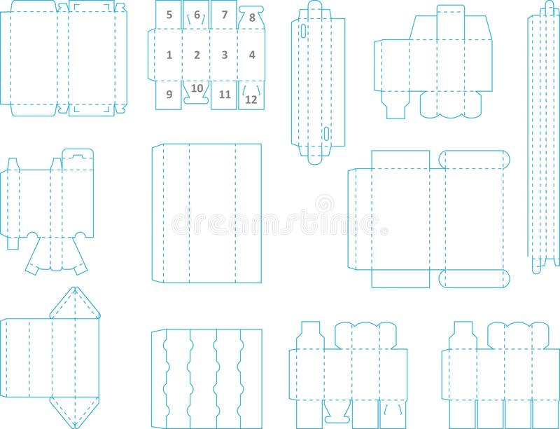 download box template collection 02 eps stock vector illustration of fold design 52395874