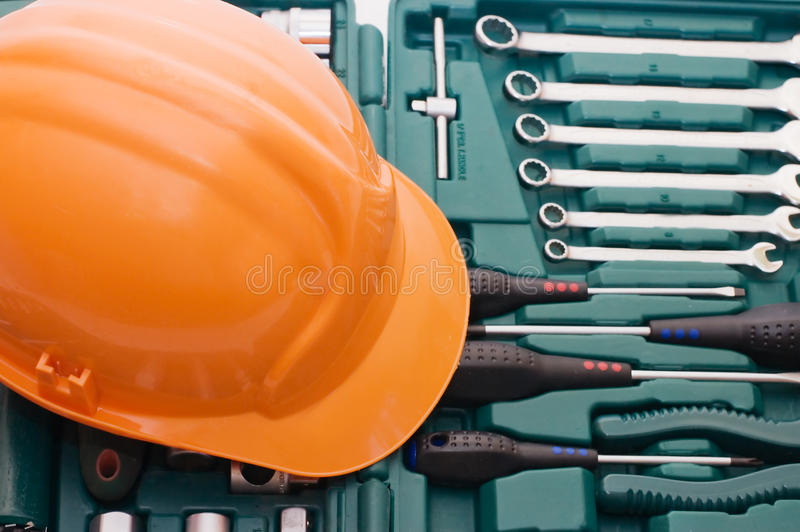 Box for tools a helmet. Close up royalty free stock photography