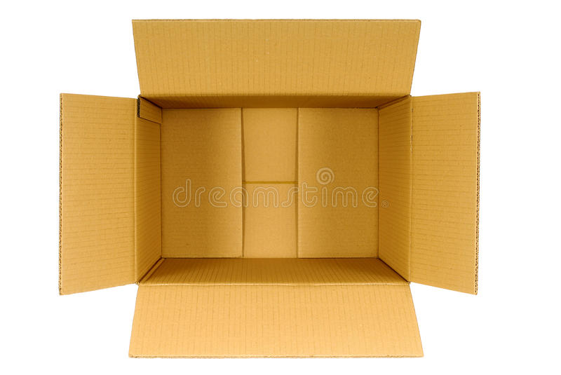 Box, top view open plain brown blank empty cardboard box isolated on white royalty free stock image