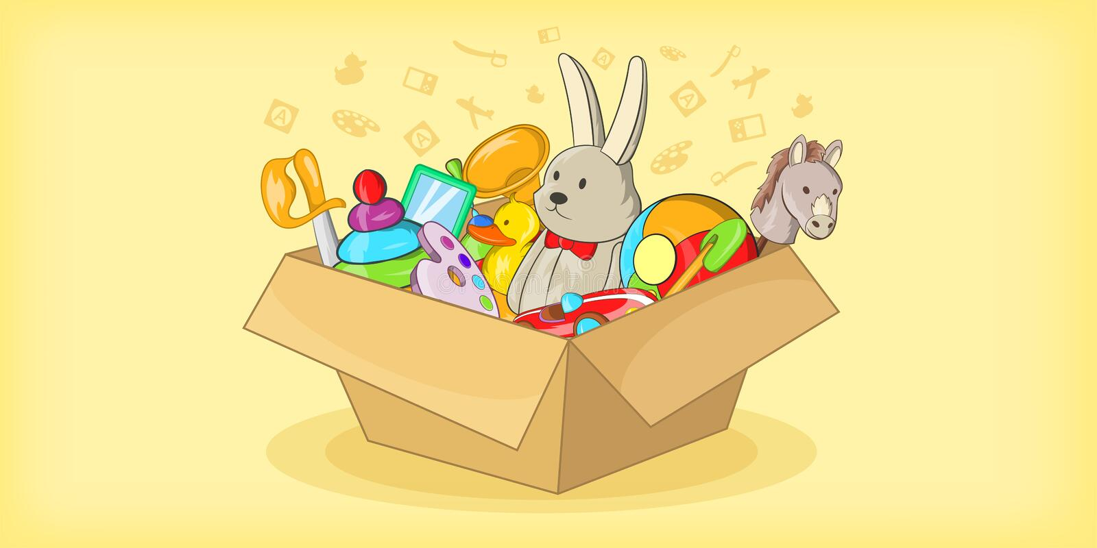 Box with toys horizontal banner, cartoon style. Box with toys horizontal banner concept. Cartoon illustration of box with toys vector horizontal banner for web royalty free illustration