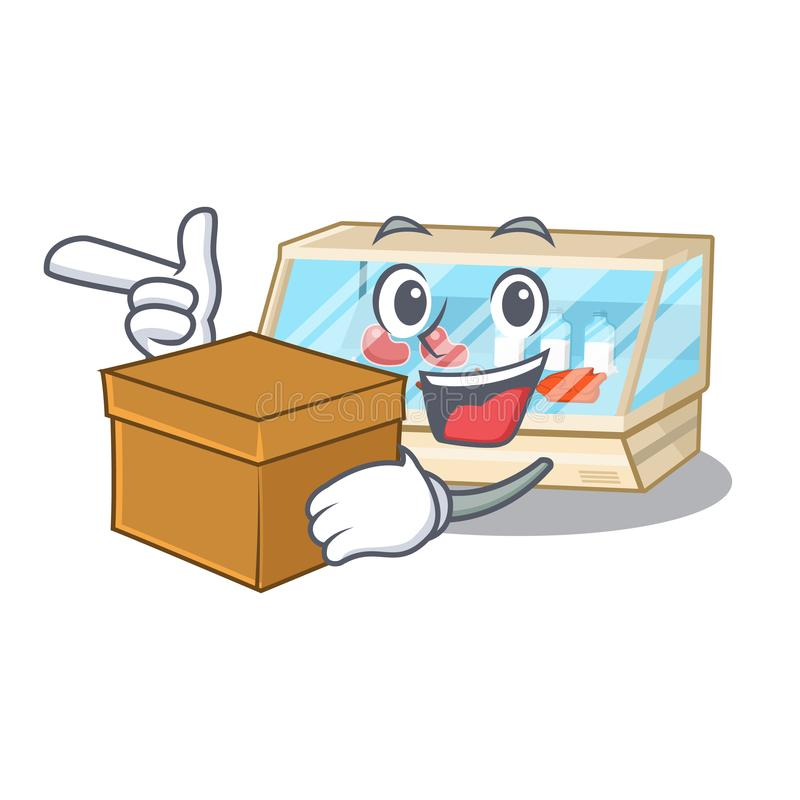 With box trade counter next to cartoon tables. Vector illustration stock illustration