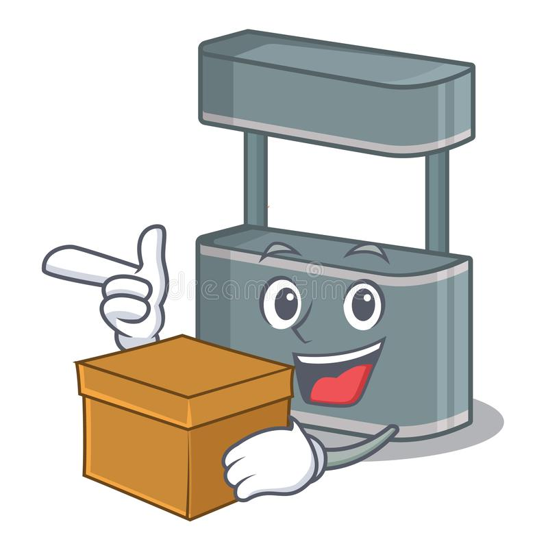 With box trade stand in the character shape. Vector illustraton stock illustration