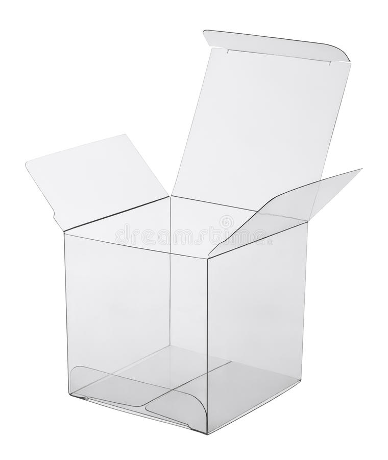 Box of transparent plastic stock image