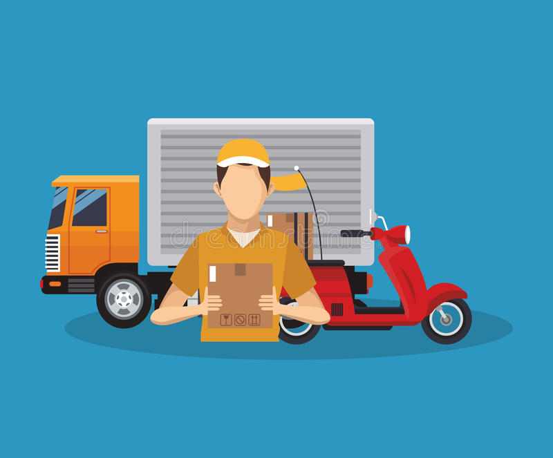Box truck and man of delivery concept design royalty free illustration